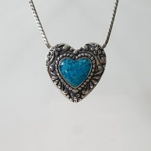 Sterling Silver Turquoise Heart Pendant & Necklace